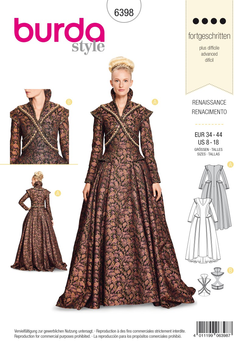 Burda Style Pattern B6398 Women's Renaissance Dress