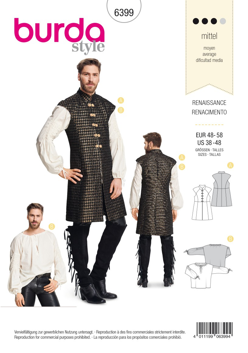 Burda Style Pattern B6399 Men's Renaissance Shirt