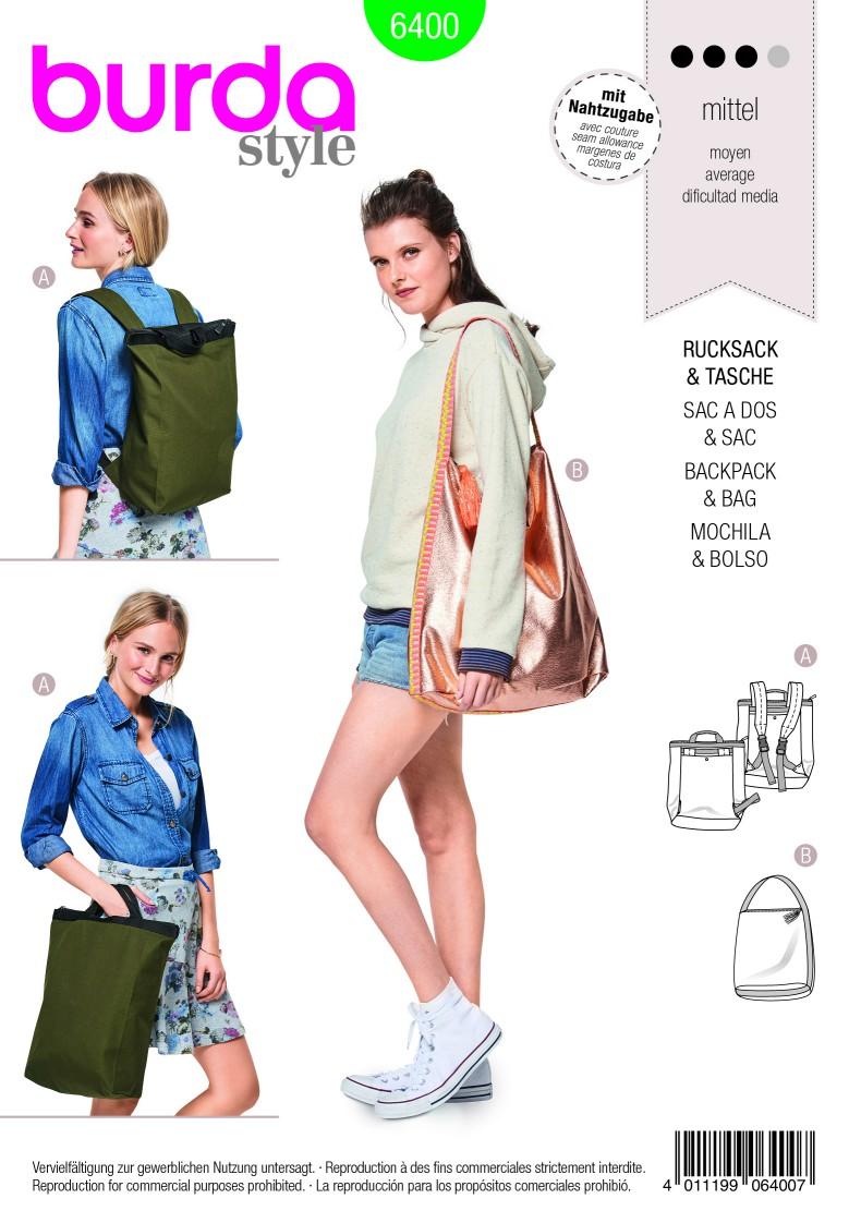 Burda Style Pattern B6400 Backpack with Zipper Fastener