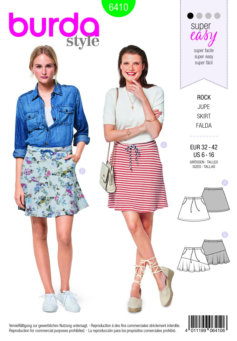 Burda Style Pattern B6410 Women's Flared Skirts With Pockets