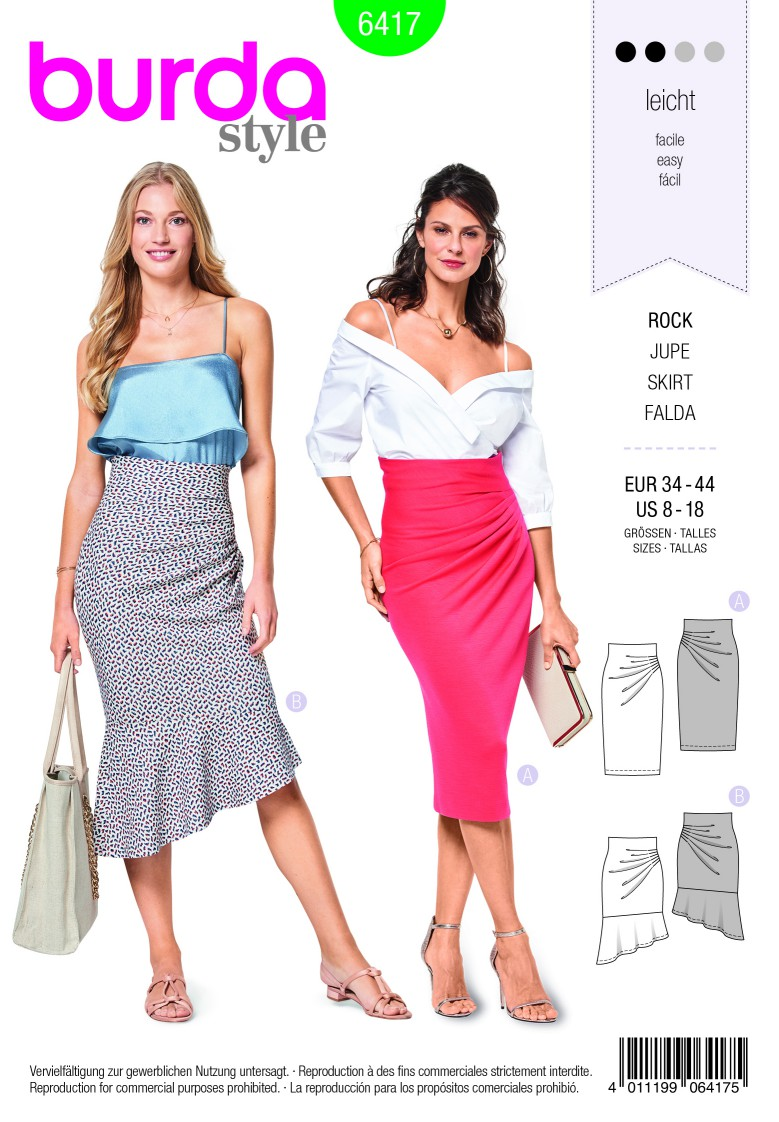 Burda Style Pattern B6417 Women's Asymmetric Skirts