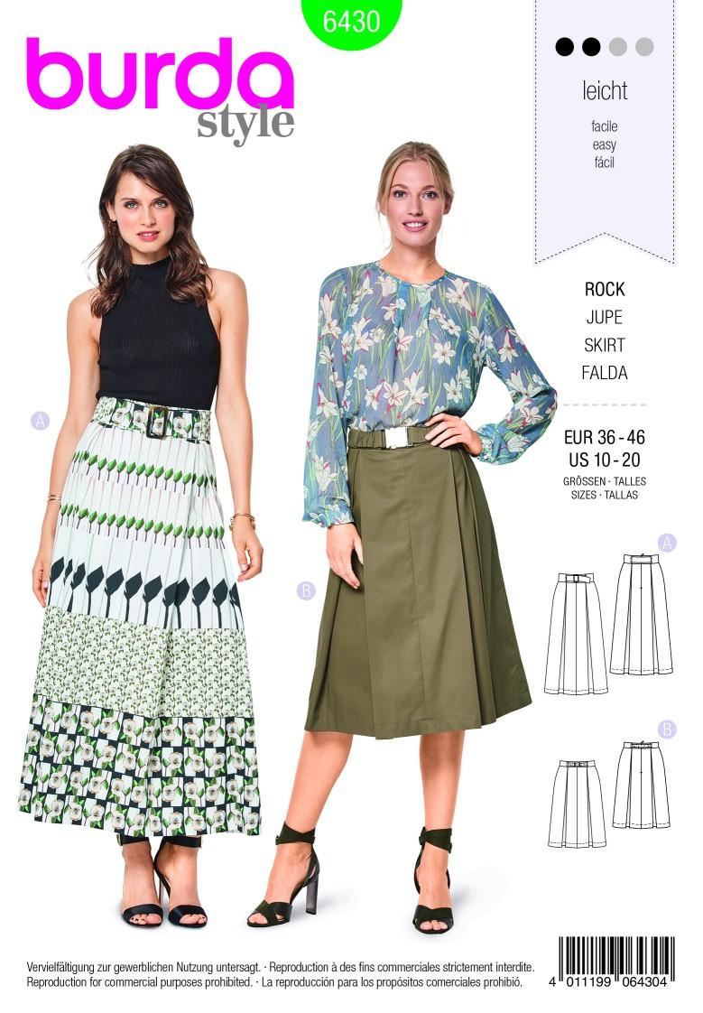 Burda Style Pattern B6430 Women's Pleated Skirts