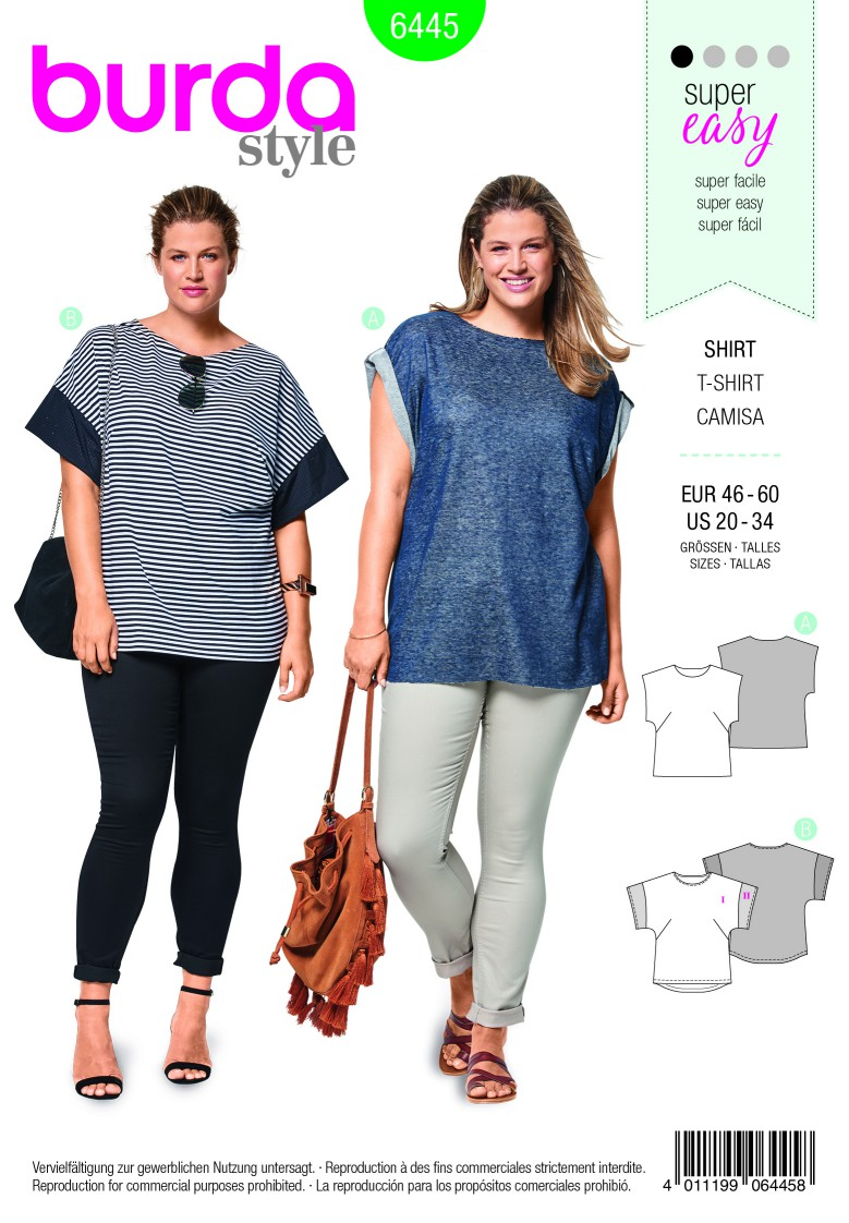 Burda Style Pattern B6445 Women's Curved Hem Simple Tops