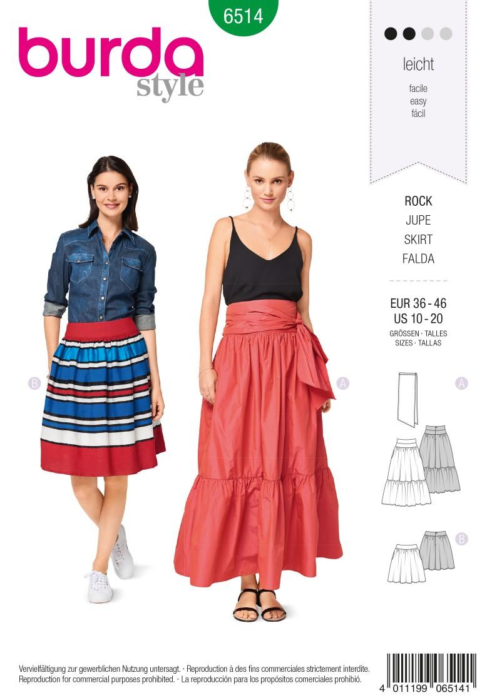 Burda Style Pattern B6514 Women's' Tiered Skirt