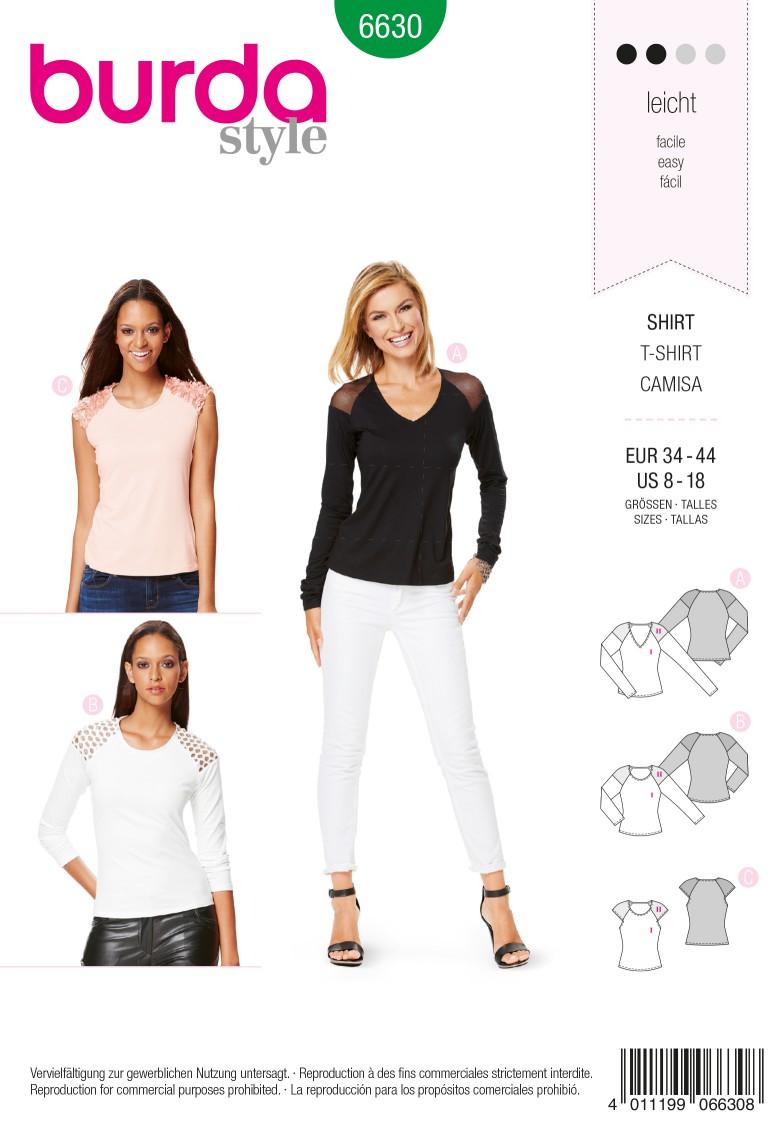 Burda B6630 Women's Shirt Sewing Pattern