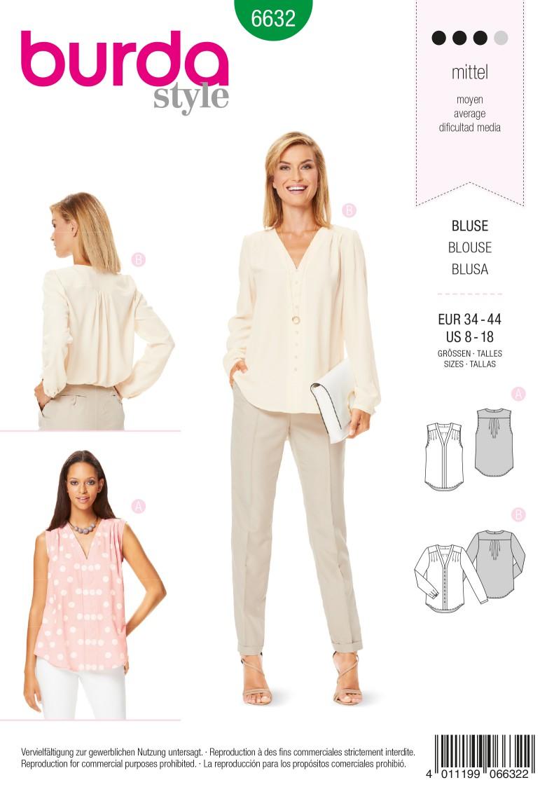 Burda B6632 Women's Blouse Sewing Pattern