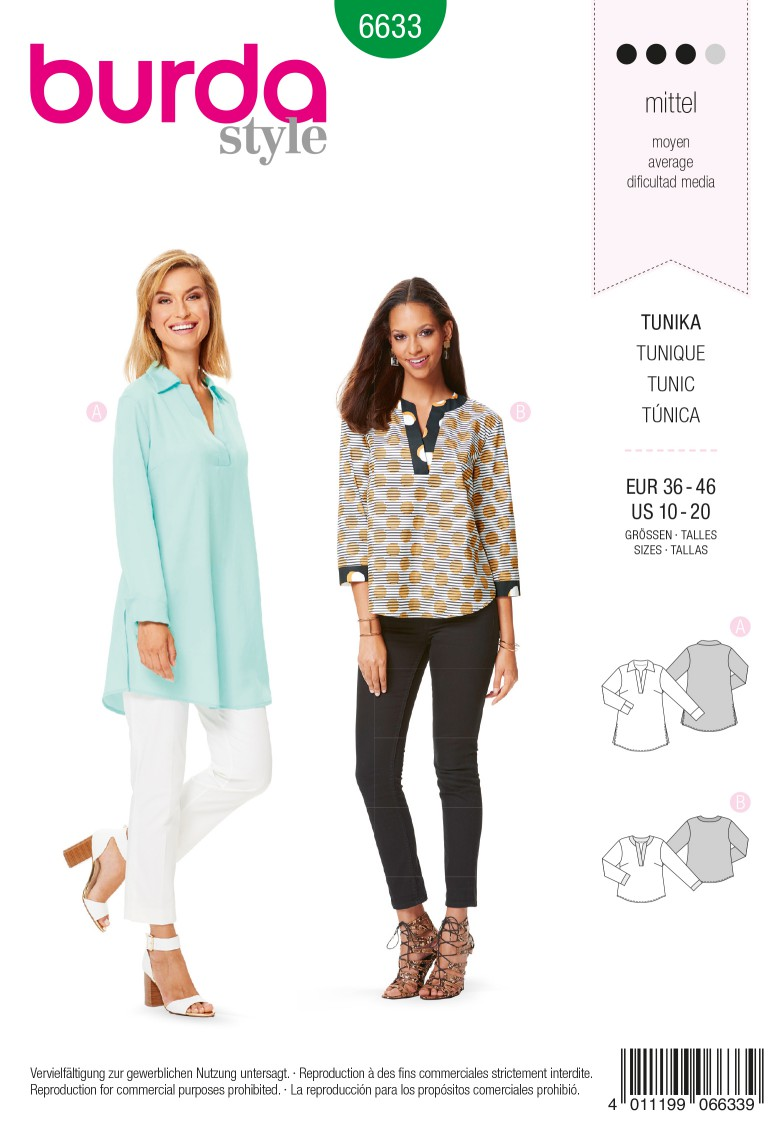 Burda B6633 Women's Tunic Sewing Pattern
