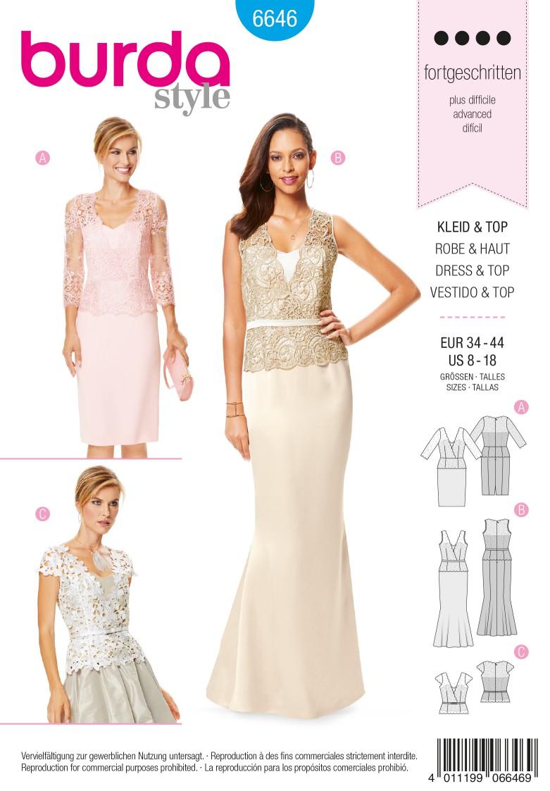 Burda B6646 Women's Dress, Top & Skirt Sewing Pattern