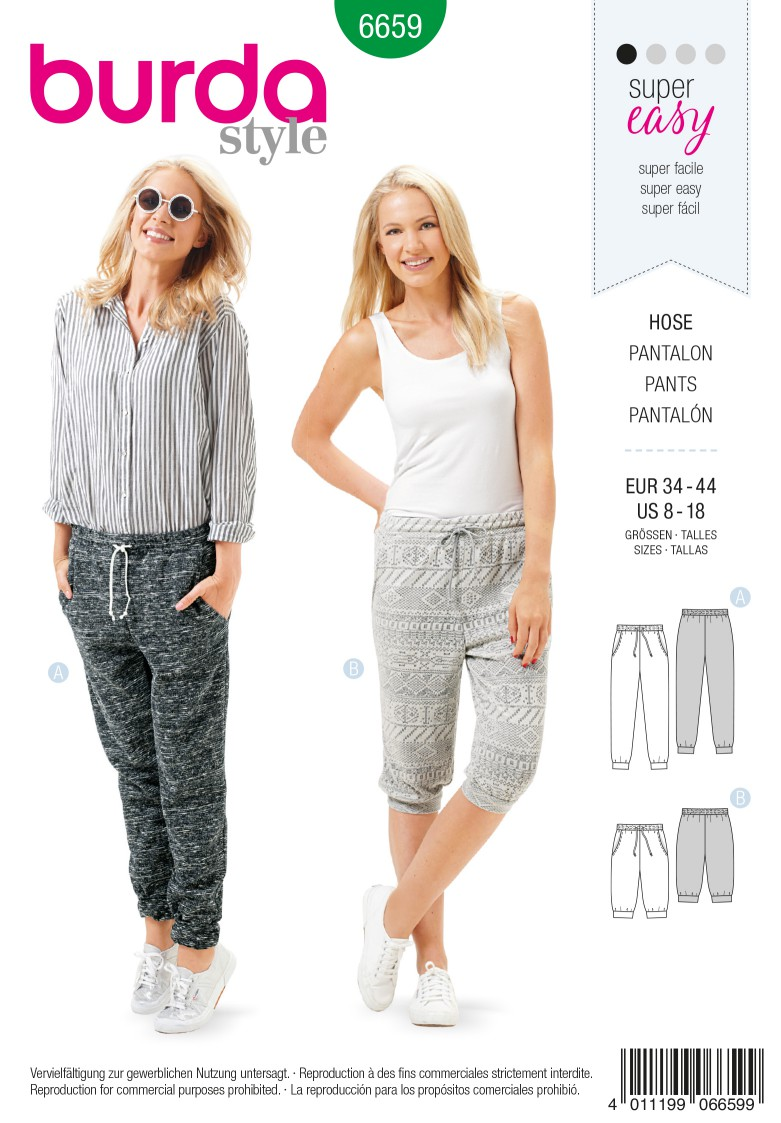 Burda B6659 Women's Trousers Sewing Pattern
