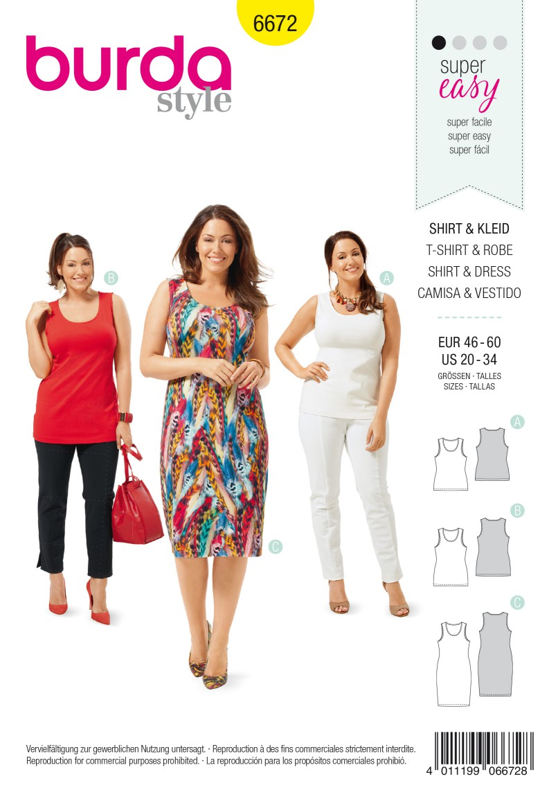 Burda B6672 Women's Shirt & Dress Sewing Pattern
