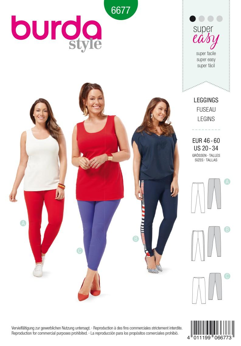 Burda B6677 Women's Leggings Sewing Pattern