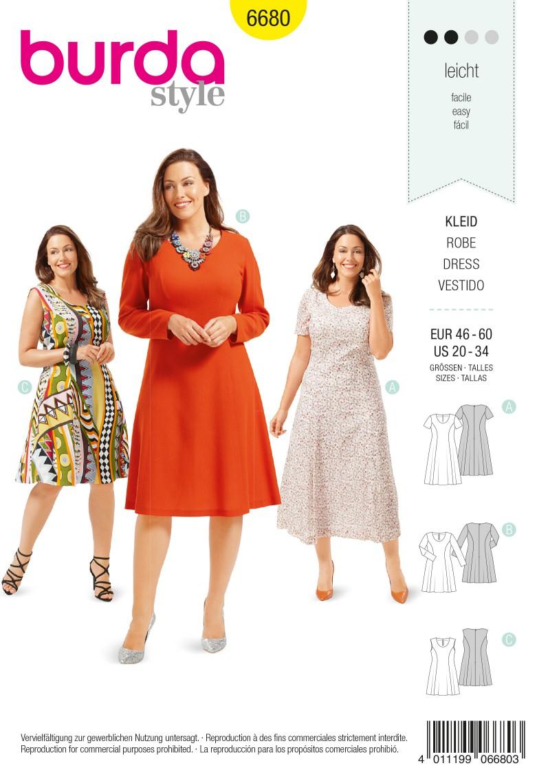 Burda B6680 Women's Dress Sewing Pattern