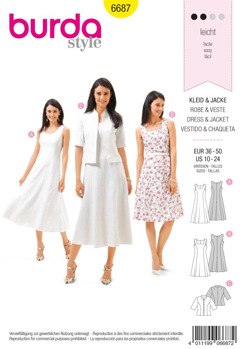 Burda B6687 Women's Dress & Jacket Sewing Pattern