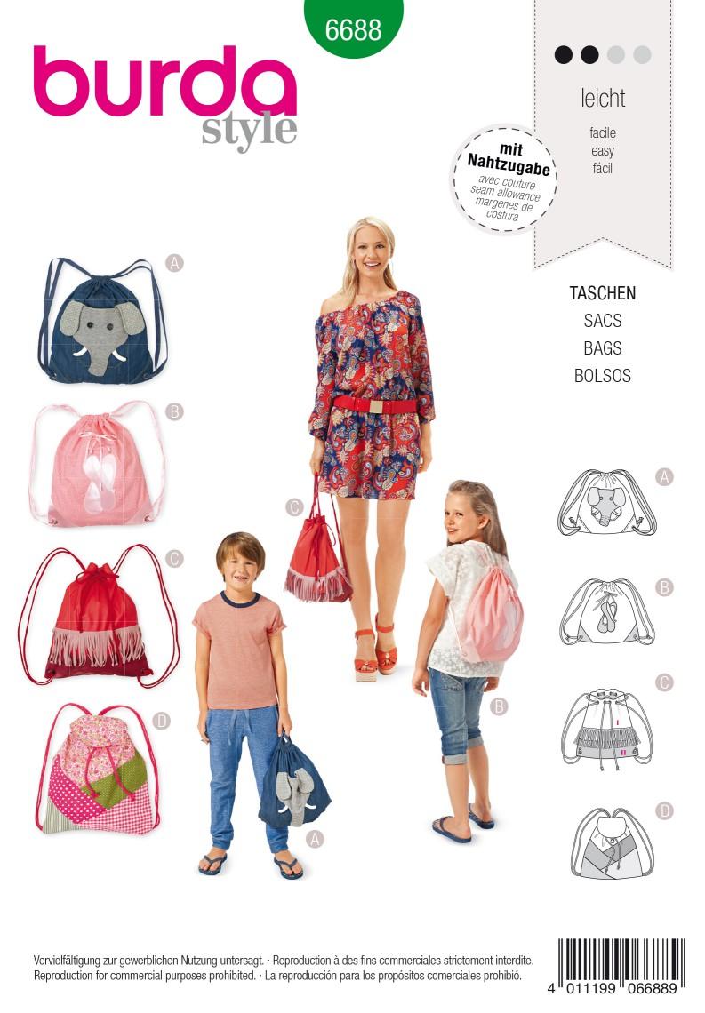 Burda B6688 Bags Sewing Pattern