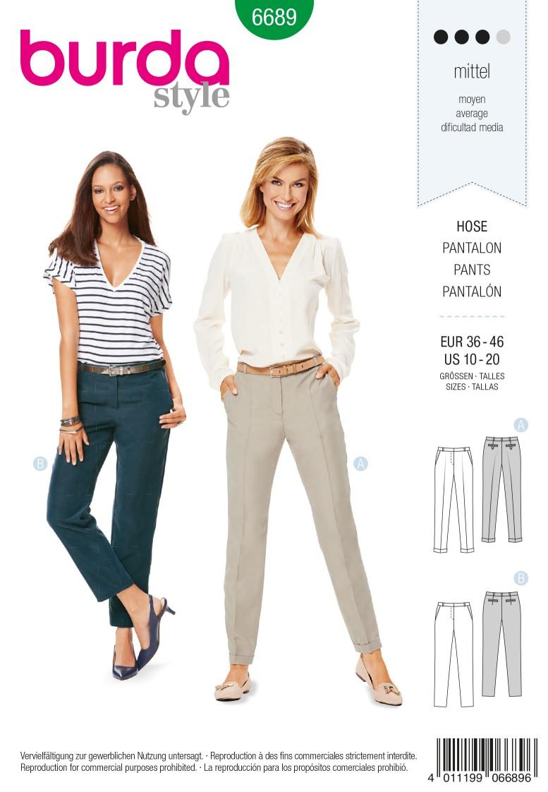 Burda B6689 Women's Trousers Sewing Pattern