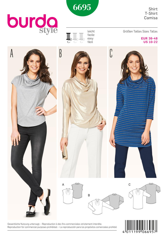 Burda B6695 Women's Tops Sewing Pattern