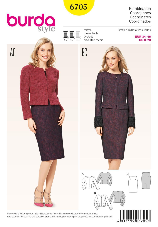 Burda B6705 Women's Jacket and Skirt Sewing Pattern