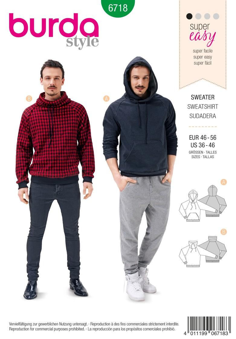 Burda B6718 Men's Pullover Hoodie Sewing Pattern