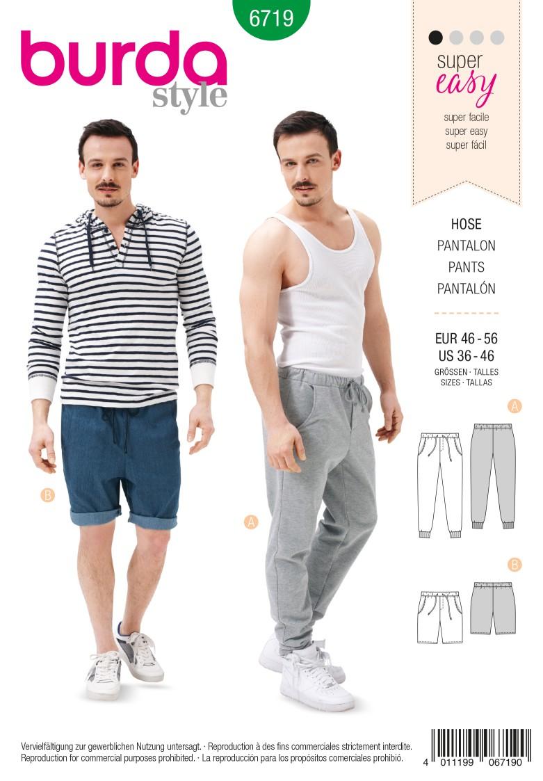 Burda B6719 Men's Jogging Trousers Sewing Pattern