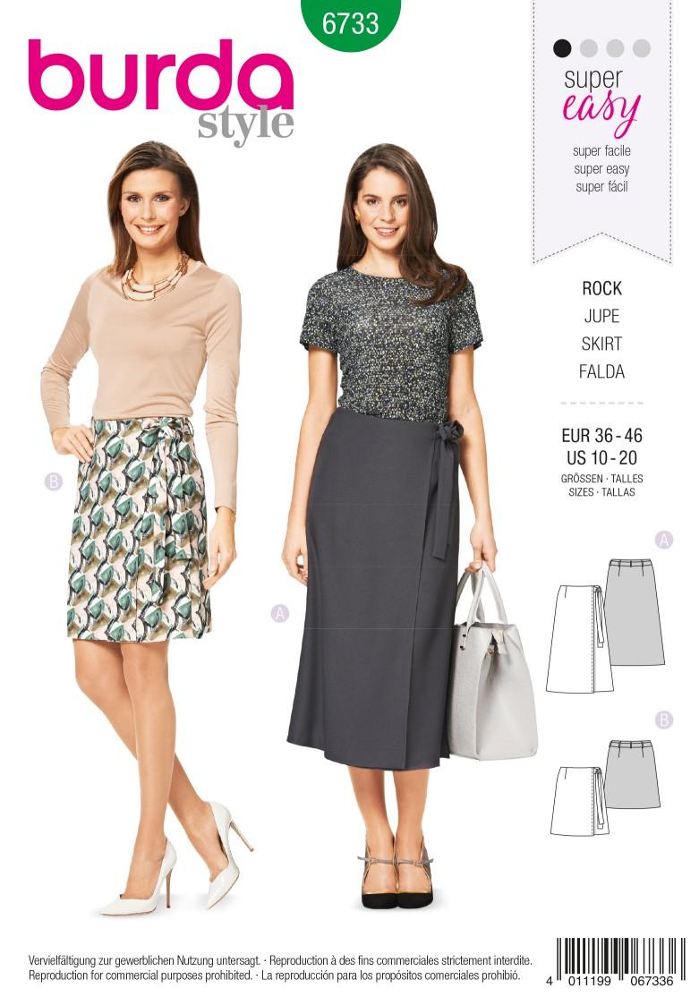 Burda B6733 Women's Wrap Skirt Sewing Pattern
