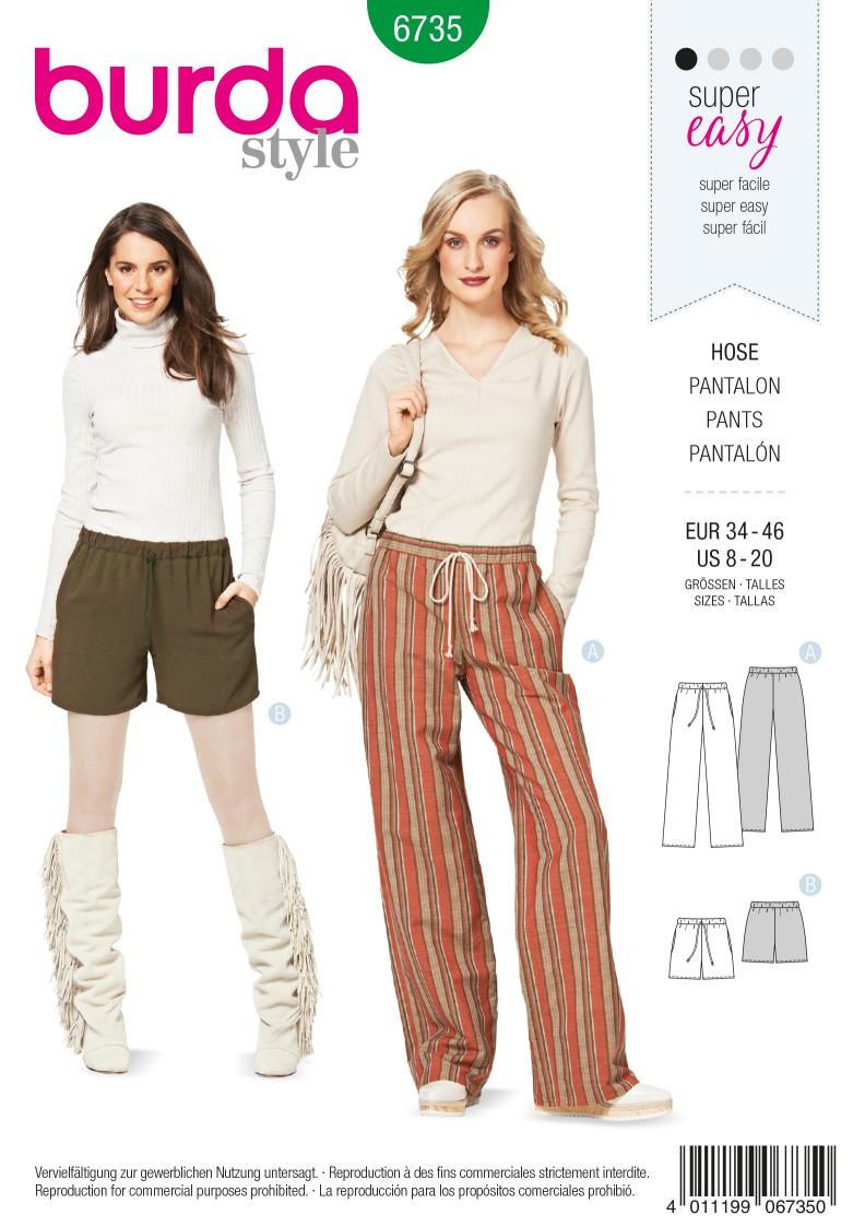 Burda B6735 Women's Trousers Sewing Pattern