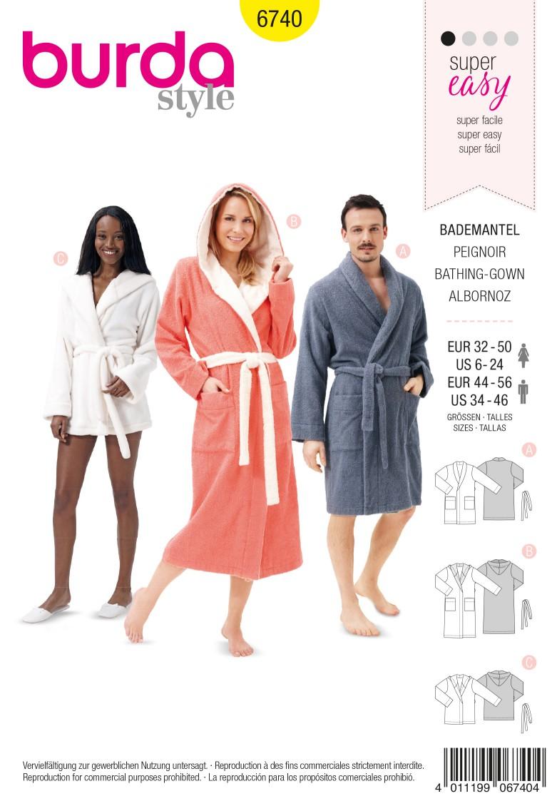 Burda B6740 Bath Robes Sewing Pattern