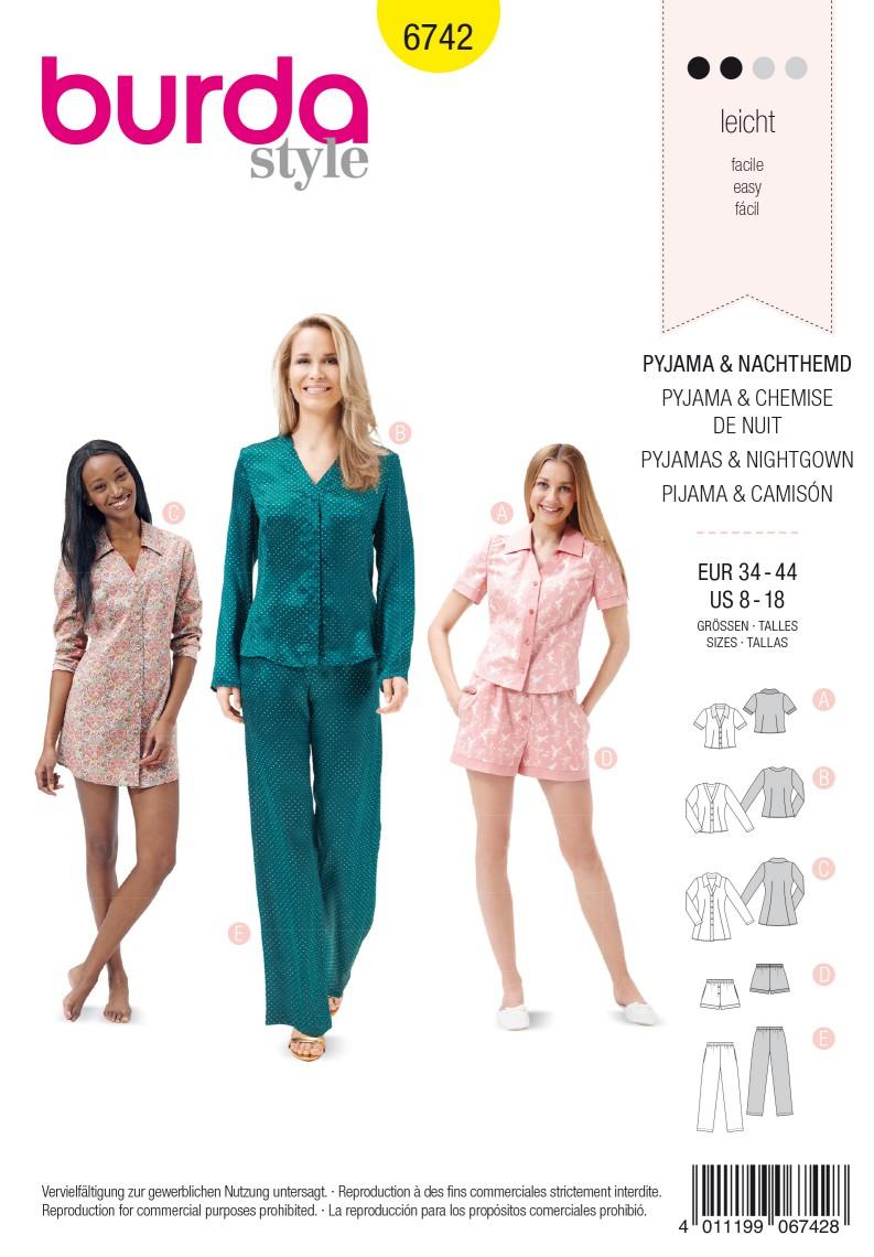 Burda B6742 Women's Sleepwear Sewing Pattern