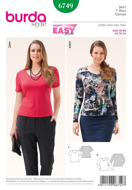 Burda B6749 Women's and Plus Size Shirt Sewing Pattern