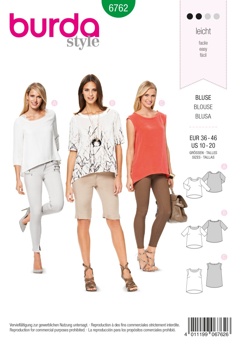 Burda B6762 Tops, Shirts, Blouses Sewing Pattern
