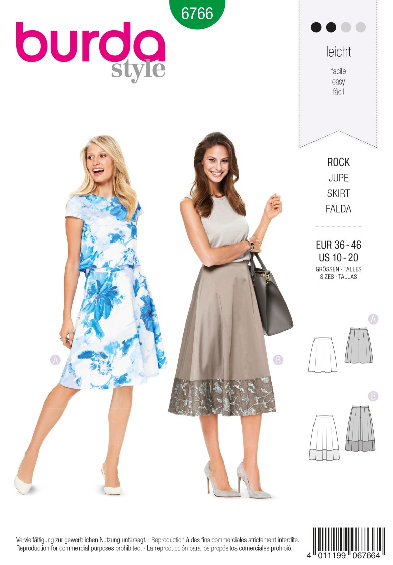 Burda B6766 Skirts Sewing Pattern