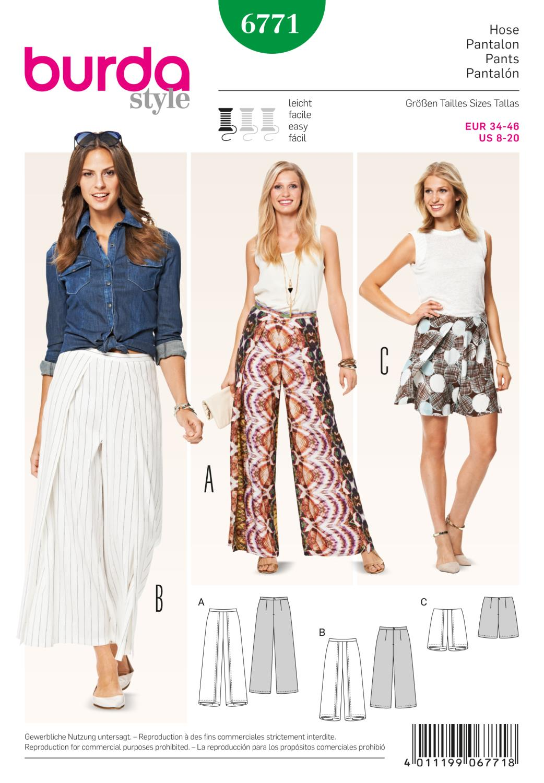 Burda B6771 Trousers, Jumpsuits Sewing Pattern