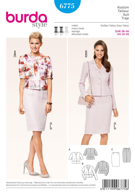 Burda B6775 Coordinates, Trousersuits, Suits Sewing Pattern