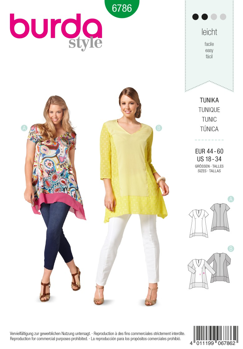 Burda B6786 Plus to size 60 (34) Sewing Pattern
