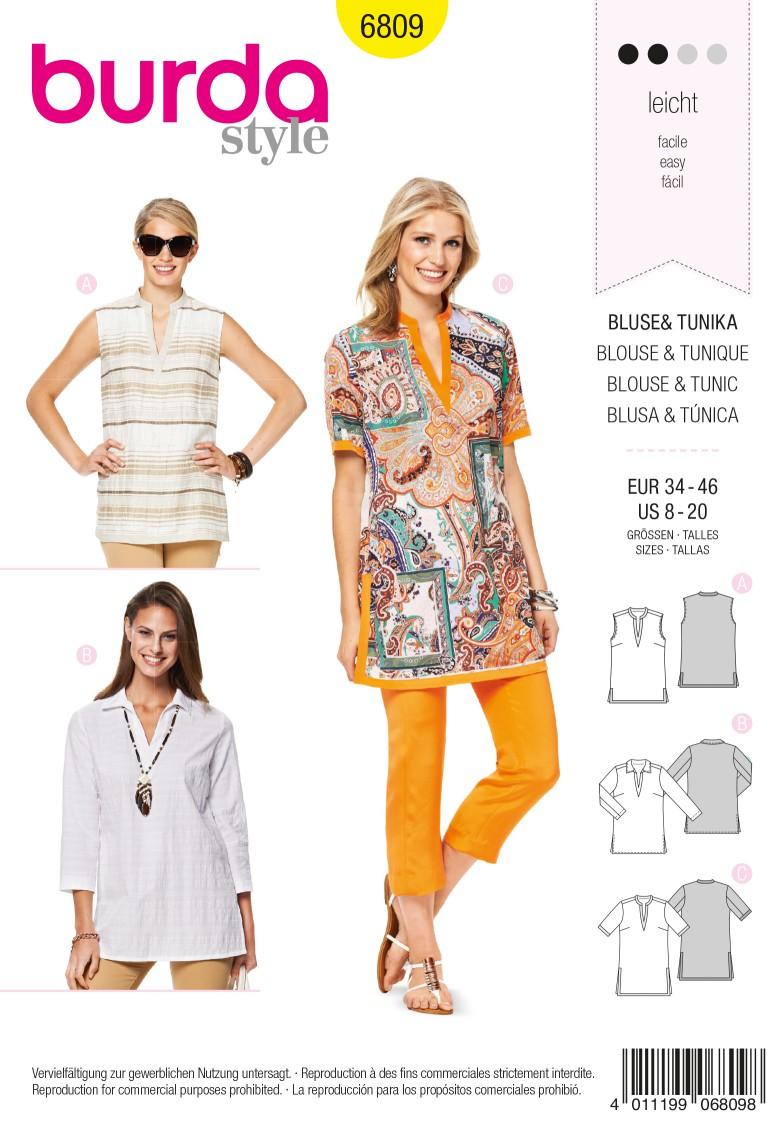 Burda B6809 Tops, Shirts, Blouses Sewing Pattern