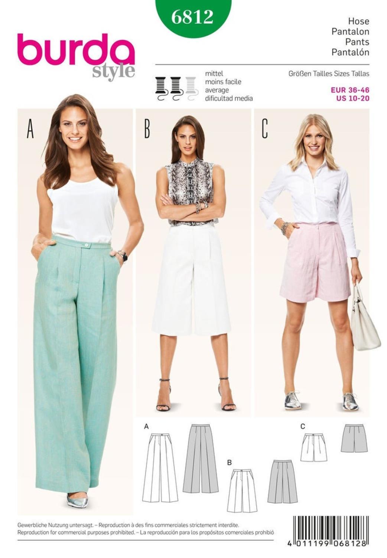 Burda B6812 Trousers, Jumpsuits Sewing Pattern