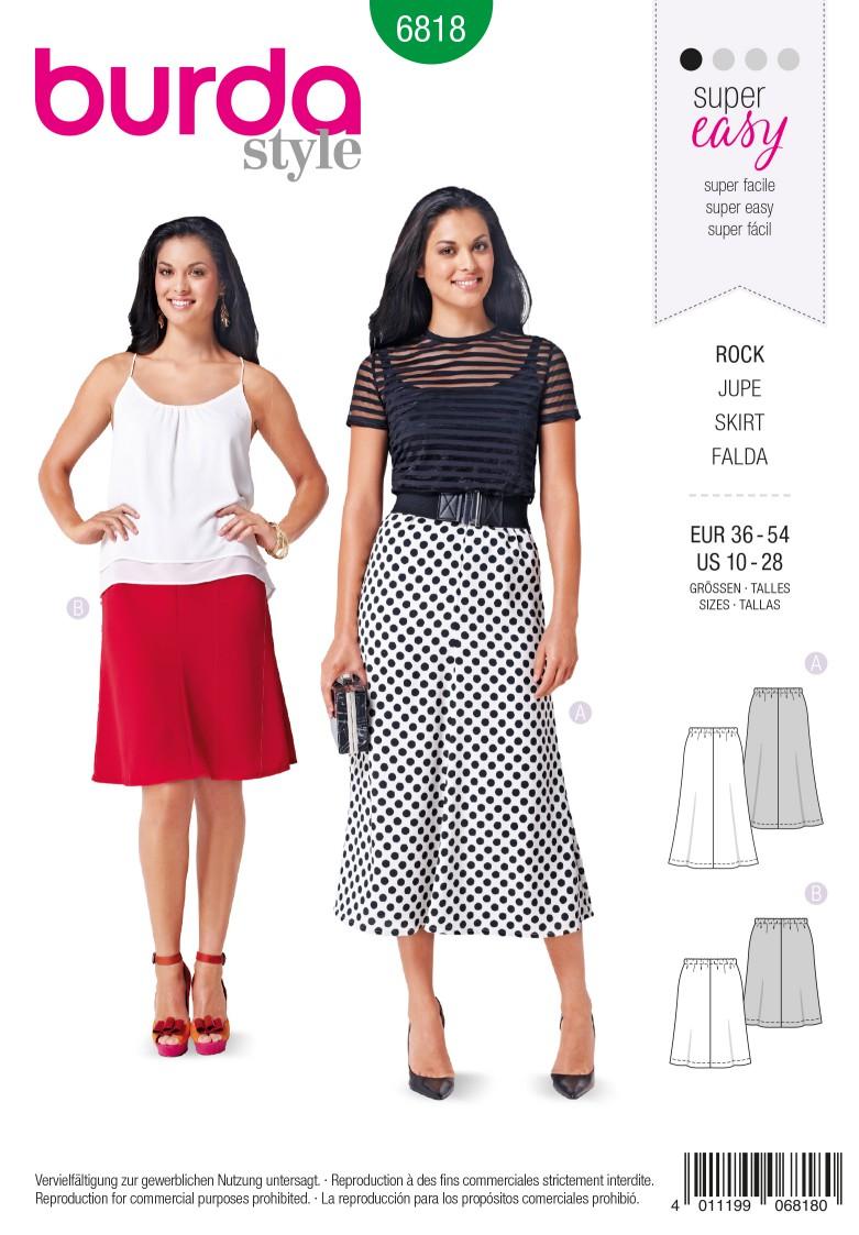 Burda B6818 Skirts Sewing Pattern