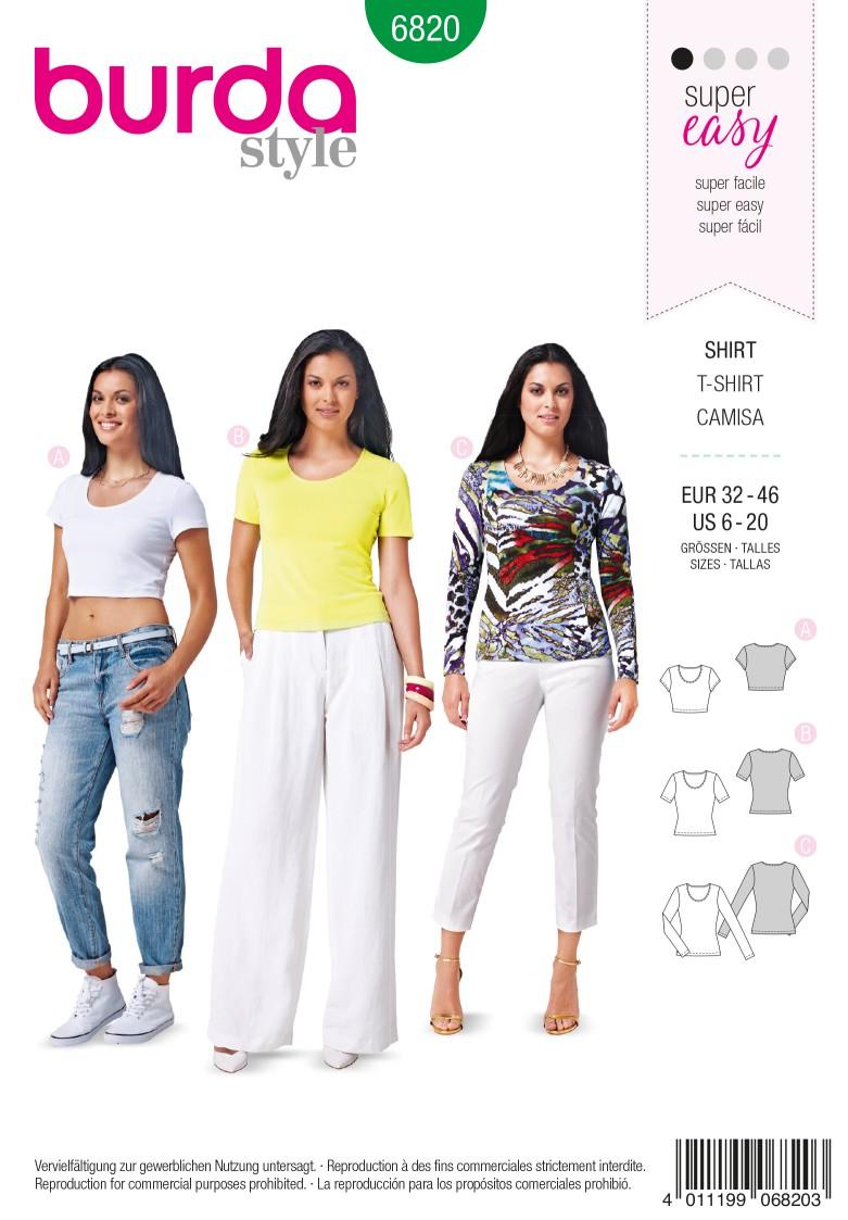 Burda B6820 Tops, Shirts, Blouses Sewing Pattern