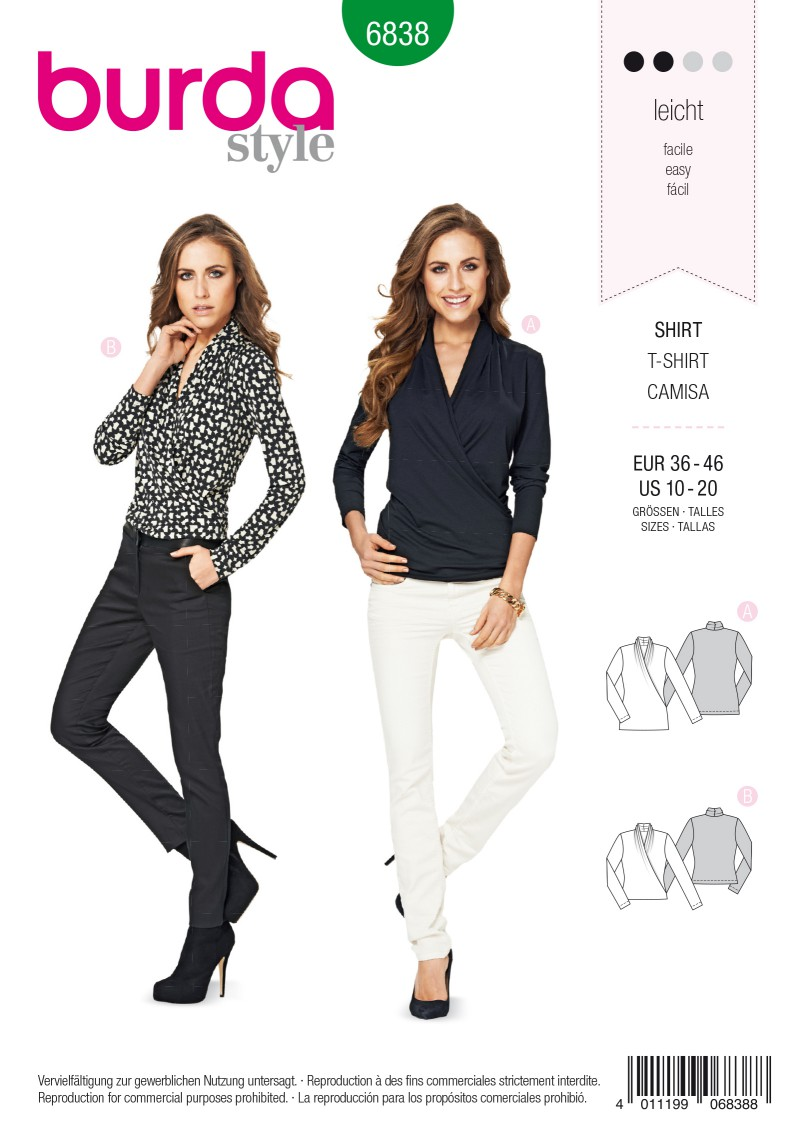 Burda Style B6838 Top, Shirt & Blouse Sewing Pattern