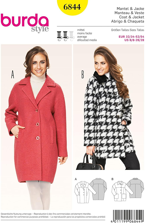 Burda Style B6844 Jacket, Coat & Vest Sewing Pattern