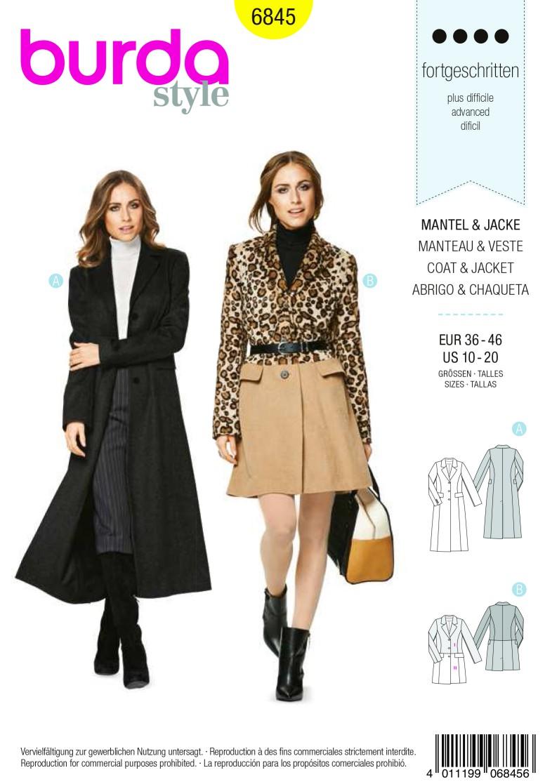 Burda Style B6845 Jacket, Coat & Vest Sewing Pattern