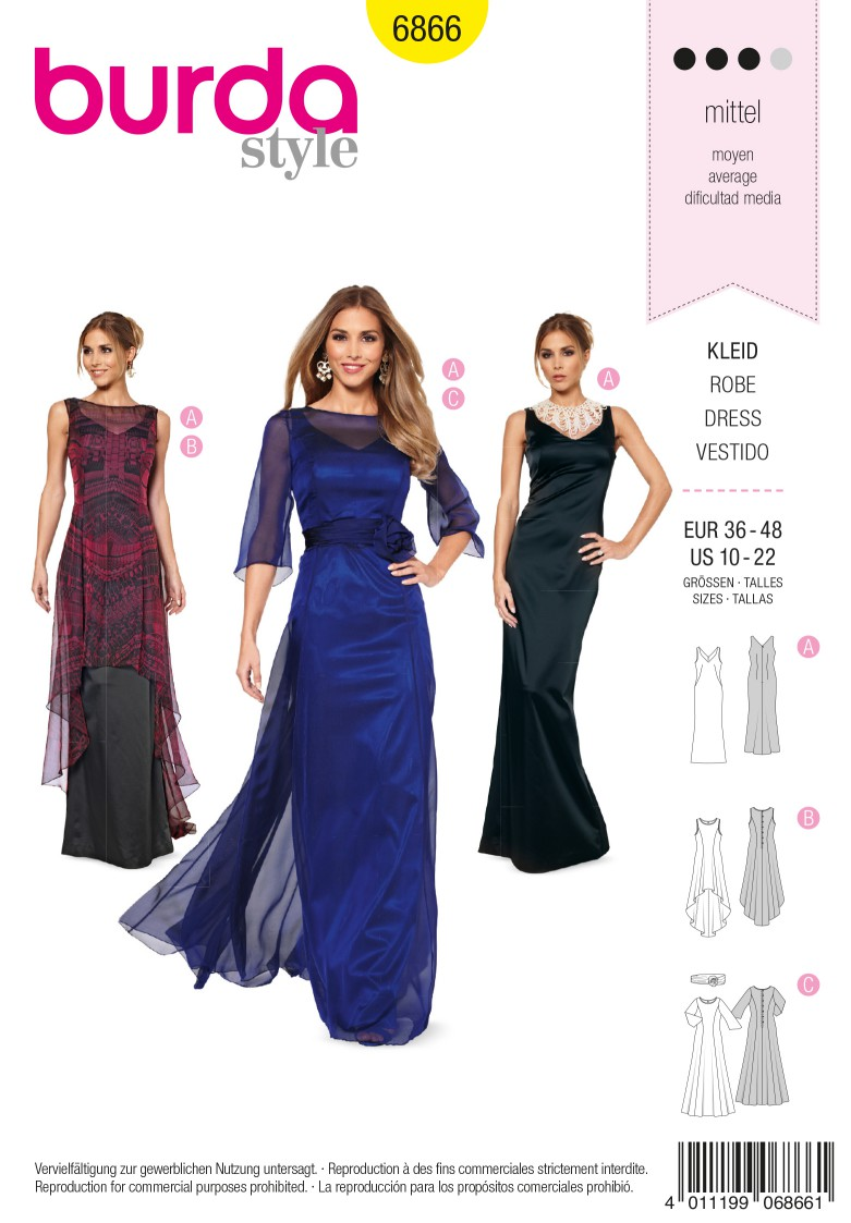 Burda B6866 burda style evening & bridal wear Sewing Pattern