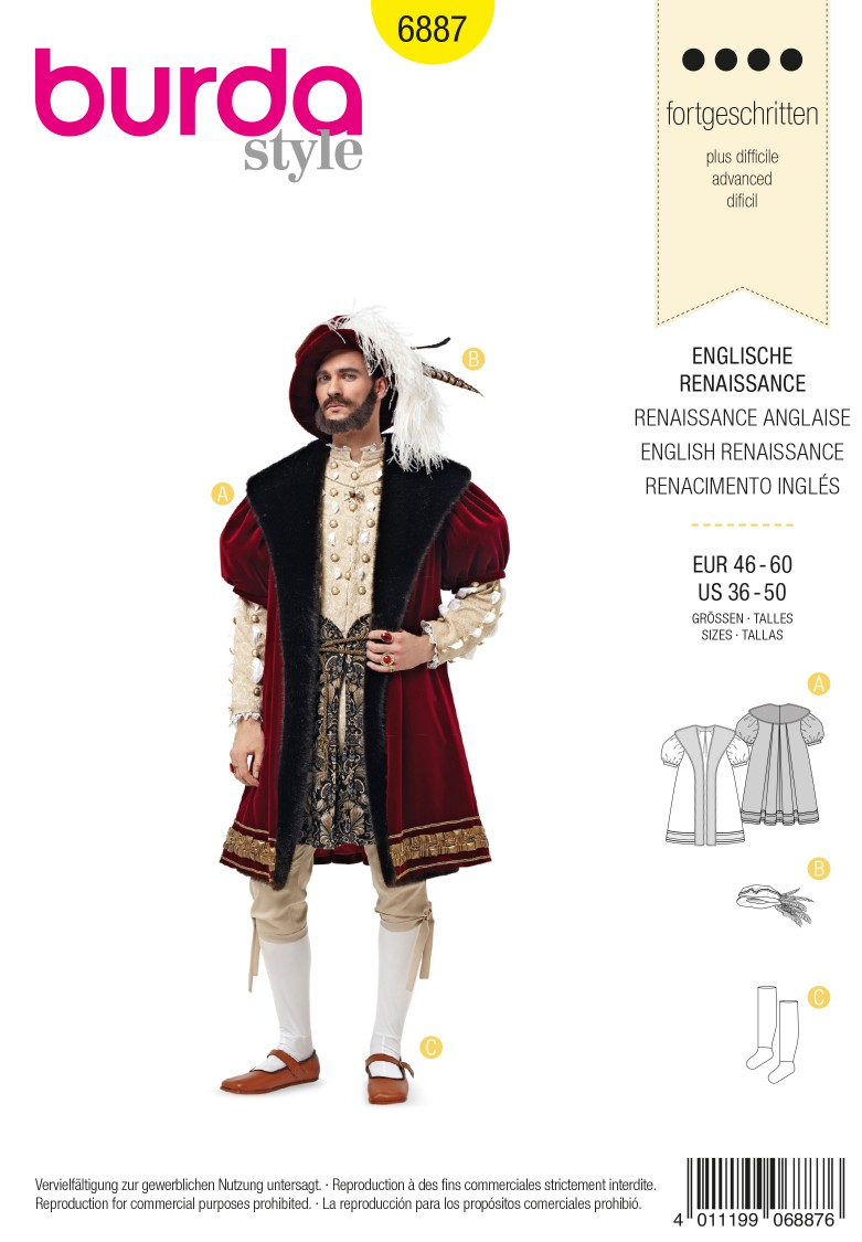 Burda B6887 burda style historical costumes Sewing Pattern