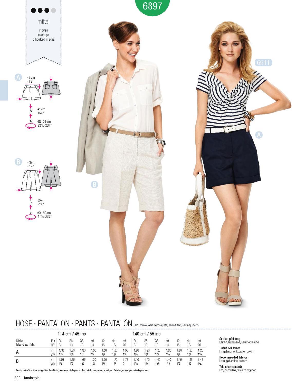 Burda B6897 Burda Style Trousers Sewing Pattern