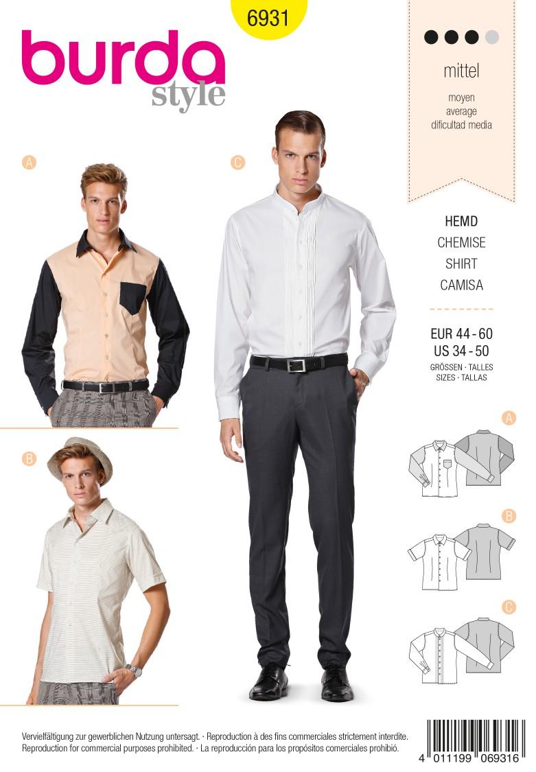 Burda B6931 Burda Style Menswear Sewing Pattern