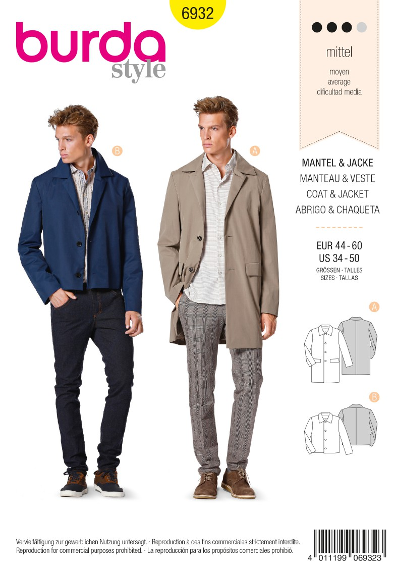 Burda B6932 Burda Style Menswear Sewing Pattern