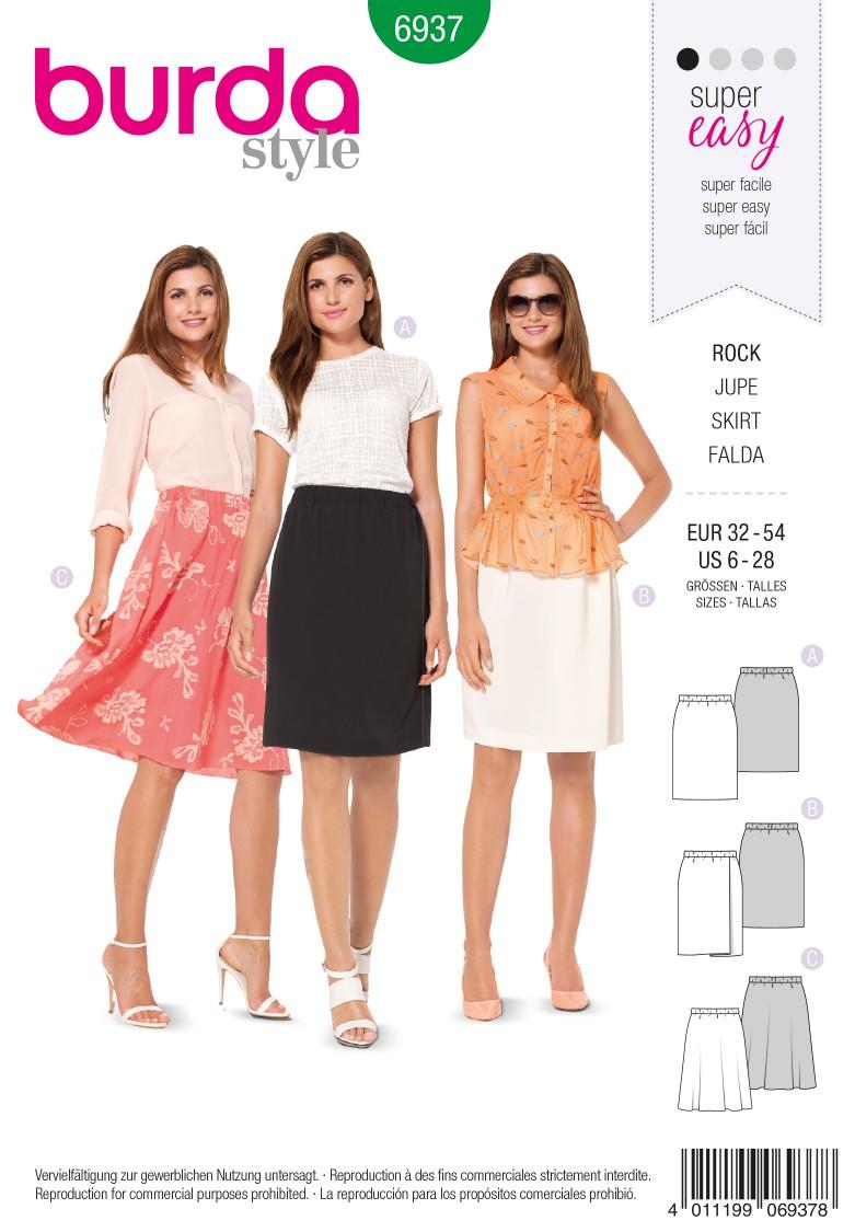Burda B6937 Burda Style Skirts Sewing Pattern