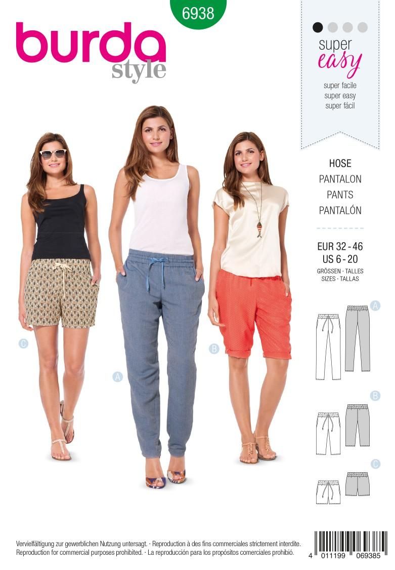 Burda B6938 Burda Style Trousers Sewing Pattern