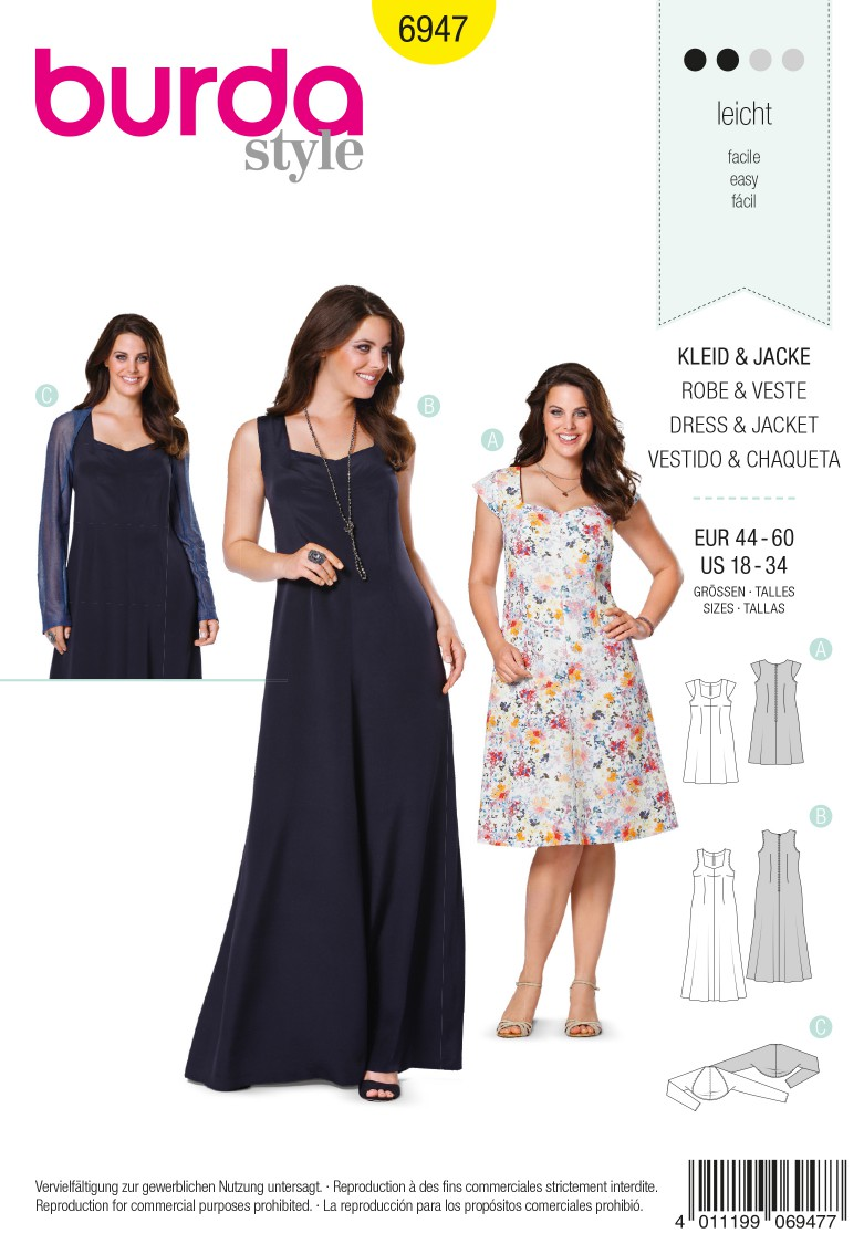Burda B6947 Burda Style Plus to size 60 Sewing Pattern