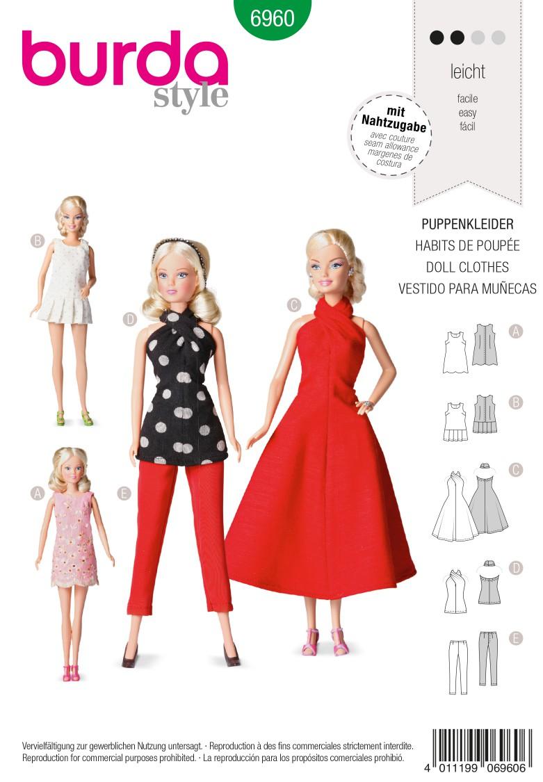 Burda B6960 Burda Style Doll Clothes, Accessories Sewing Pattern