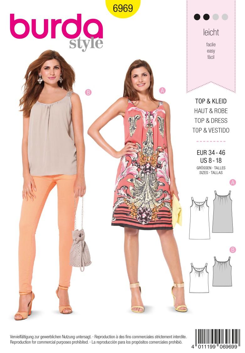 Burda B6969 Burda Style Tops, Shirts, Blouses Sewing Pattern